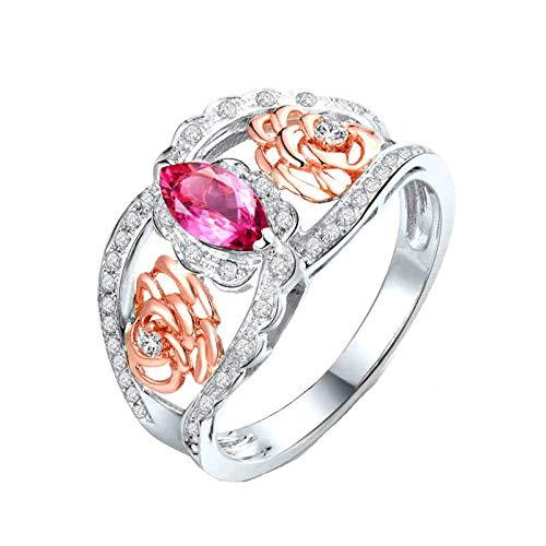 Daesar Anillos de Mujer Oro Blanco 18,Flor Hueca con Marquesa Turmalina Rosa 1.36ct Diamante 0.21ct,Plata Oro Rosa Talla 8