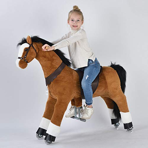 UFREE Action Pony, Large Mechanical Horse Toy, Ride on Bounce up and Down and Move, Height 44 inch for Children 6 Years to Adult Black Mane and Tail