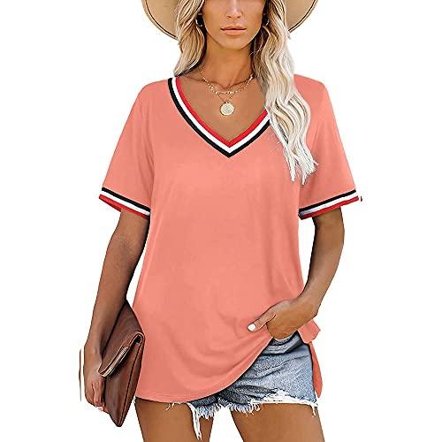 Mayntop Camiseta de verano para mujer, de manga corta, lisa, con cuello en V, suelta, con rayas, suelta, con cuello, A-rosa, 44