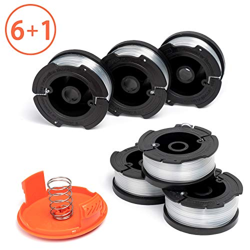 X Home AF-100 Weed Eater Spools and Cap Combo Set, Compatible with Most Black and Decker String Trimmers, Durable and Easy to Install (6 x Spool + 1 x Cap)