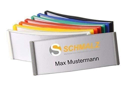Schmalz Werbeservice Kunststoff Namensschild 75x30mm versch. Farben ABS-Kunststoff Nadel/Magnet (Silber-grau)