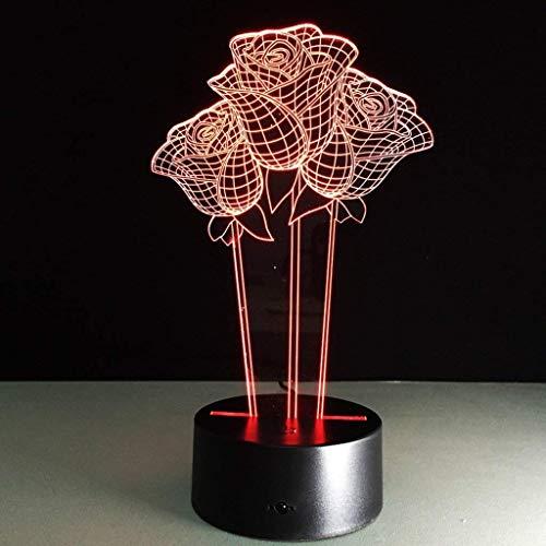 YWAWJ Rose Blume Moderne Lampe LED-Schreibtisch-Tabellen-Nachtlicht mit Smart Touch & Fernbedienung 7 Farben ändern, for Mädchen, Freunde