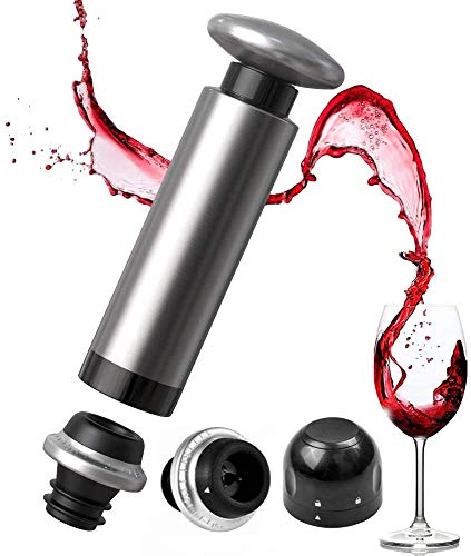Sinvitron Weinpumpemit 2 Weinflaschenverschlüssen & Champagner-Versiegelung, Rostfreier Stahl Vakuum Wein Saver zum Entfernen von Luft und Vakuumversiegelung, Weinkonservierung (Sliver, 1)