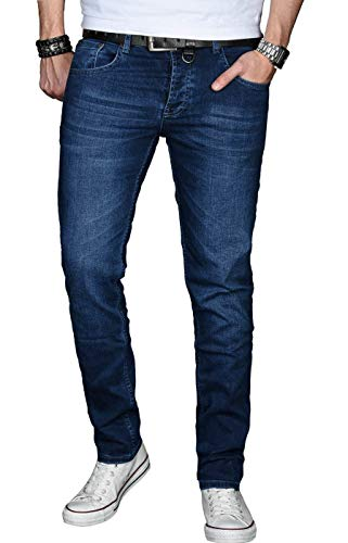 A. Salvarini Designer Herren Jeans Hose Basic Stretch Jeanshose Regular Slim [AS025 - Dunkelblau - W32 L32]