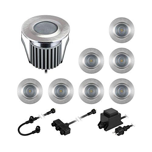 parlat LED Boden-Einbauleuchten BODES für außen, warm-weiß, 65lm/Leuchte, matt, rund, 50mm Ø, 8er Set