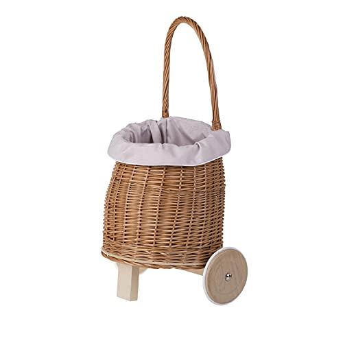 e-wicker24 Carrito de mimbre colgante de mimbre con cesta
