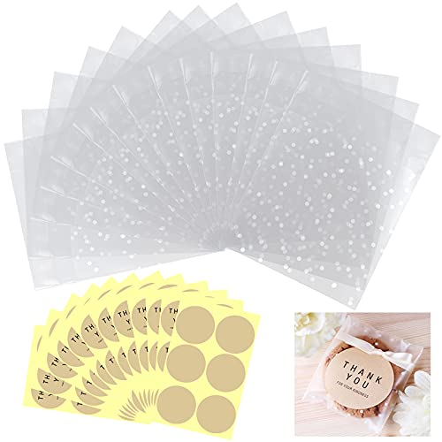 400 Pcs Cookie Bags Self Adhesive Cellophane Treat Bags Candy Bag Party Favor Bags White Polka Dot Plastic Pastry Bags with Thank You Labels for Biscuit Snack Chocolate Wedding Chocolate