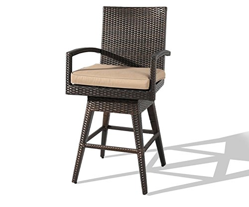 Ulax Furniture 2 Pack Outdoor Patio Furniture All-Weather Brown Wicker Swivel Bar Stool with Cushion