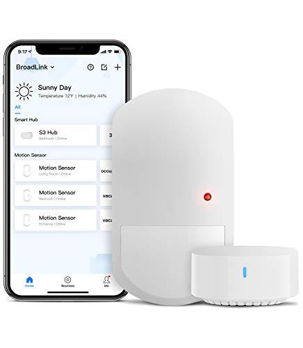 BroadLink - Sensore di movimento intelligente con hub - Wireless 2,4 G PIR per domotica, illuminazione ambientale, attivazione di dispositivi, notifiche, funziona con Alexa, IFTTT