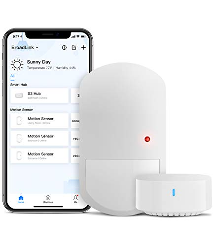 BroadLink Smart Motion Sensor, PIR for Home Automation, Works with IFTTT and Alexa Routines. Wireless Trigger Smart Home Devices and Scenes, Occupancy Lighting, S3 hub Included