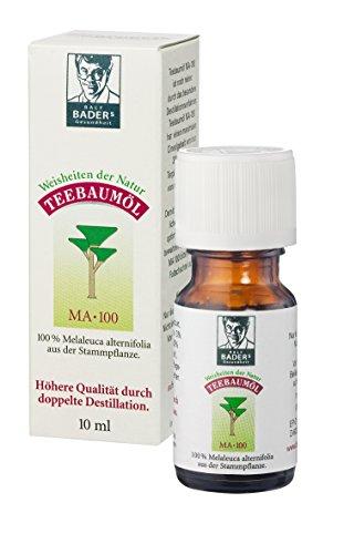 BADERs Teebaumöl. Der Klassiker aus der Apotheke. Doppelt destilliert. Desinfiziert. Australisches Melaleuca alternifolia. 10ml