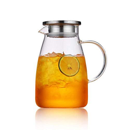 HJYSQX Jarra de 1,2 l/litro, jarra de jugo con tapa, botella de agua, jarra de vidrio, jarra de agua, sin BPA, jarra de vidrio y jarra de agua, boquilla de jarra de té (sola olla, sin taza)