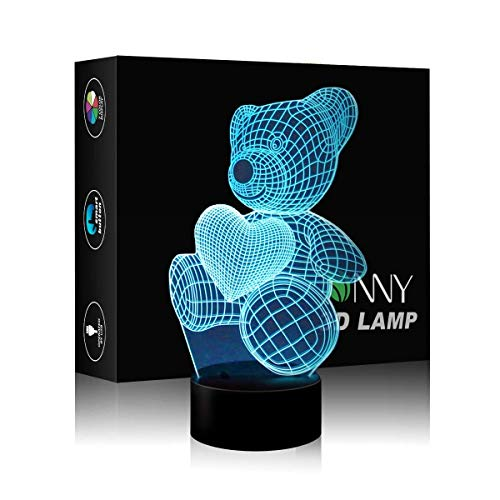 Bear 3D LED Light 3D Illusion Night Lamp Touch Switch Desk Night Lights 3D Optical Illusion Lights 7-Color Multicolored USB Power Home Decoration Color Changeable Lamp Best Toys for Girls for Boys