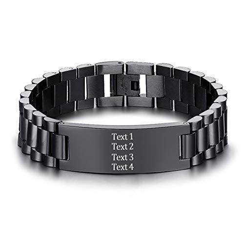 MissChic Personalisiertes Armband, Namensarmband, Lederarmband Herren mit Gravur,Armbänder für Mann männer Damen
