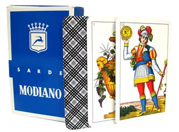 Brybelly Modiano Sarde Regional Italian Playing Cards, Authentic Italian Deck with 40 Cards and Classic Illustrations