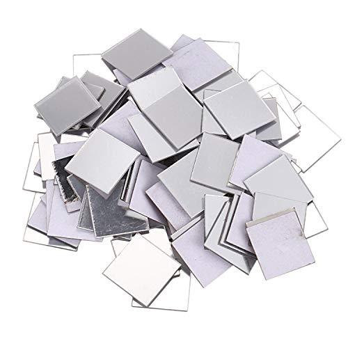 Tamkyo 100 StüCk Spiegel Fliesen Wandaufkleber 3D Aufkleber Room Decor Stick (Silber)