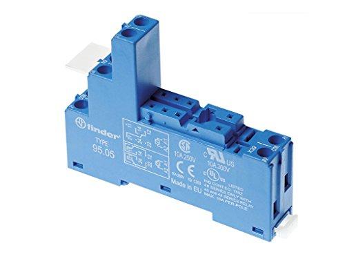 Zoccolo per rele con morsetti a gabbia per pannello o binario DIN 35 mm RELE Series 40.51-40.52 - 40.61 1-2 contatti passo 5 mm 10 A FINDER 95.05