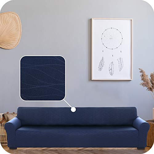 UMI. by Amazon Funda para Sofa Decorativa Suave de Salon con Patrón de Ola 4 Plazas Azul Marino