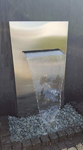 garten-wohnambiente Wasserwand Edelstahl mit Wasserauflauf 75 cm 175/90/30 cm Edelstahlwand