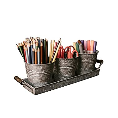 Farmhouse Decor - Silverware Picnic Caddy - Galvanized Planter Tray Set with Wooden Handles and 3 Buckets by H  K Designs