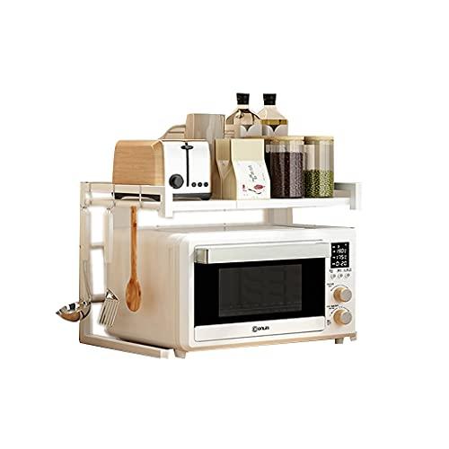 Rack de horno de microondas retráctiles de 2 capas de 2 capas, bastidor de tostadora, para la cocina, almacenamiento del sótano (15.7 '~ 23.6' L * 14.2 'W * 16.5' H.), Con 3 racks de almacenamiento de