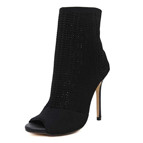 COCOLULU Damen High Heels Peeptoes Stiefeletten Cut Out Strick Sommerstiefel(EU Size 37, schwarz)