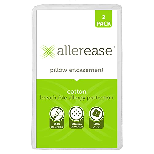 Aller-Ease Cotton Pillow Protectors, 2 Pack, White, 2 Count