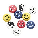 N / B 10 piezas de raqueta de tenis amortiguador de cuerda, diseño de cara sonriente amortiguadores suaves de vibración para deportes de tenis, gran regalo de accesorios de tenis
