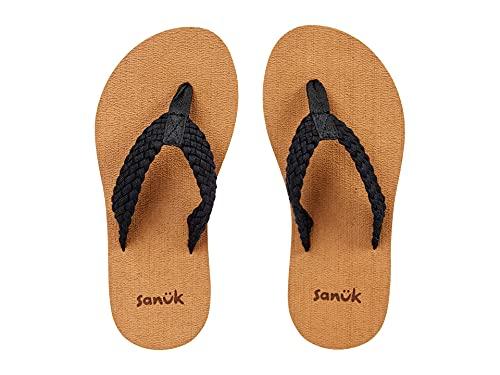 Sanuk Women's Stacker Braid Flip-Flop, Black, 6