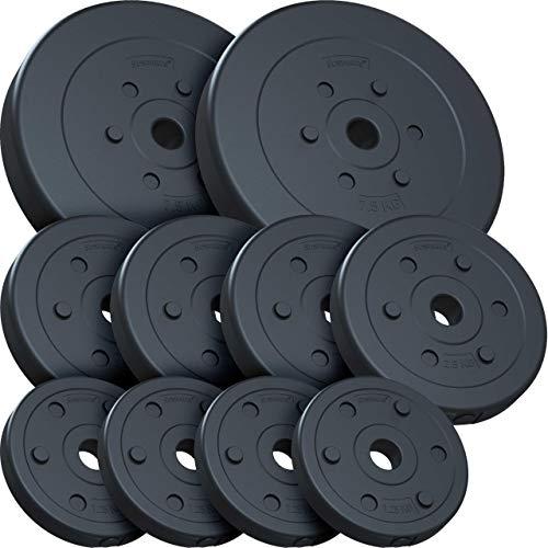 ScSPORTS 30 kg Hantelscheibenset Kunststoff 2x7,5 kg 4x2,5 kg 4x1,25 kg Ø 30 mm