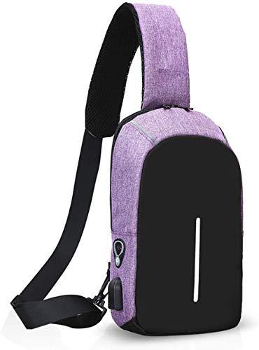 YANGCHENG Bolso De Hombro Táctil Ligero con Orificio De Auricular USB, Fibra De Poliéster Impermeable Adecuado para Viajar Ciclismo Camping Senderismo,Púrpura