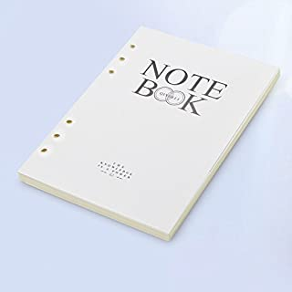Filler Paper, Refills 6 Holes Lined Beige Paper for A5 Loose Leaf Binder Notebook Journal, 5.55 X 8.1 Inches, 90 Sheets/180 Pages (0032) (White)