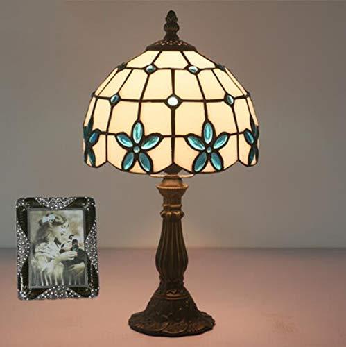 WLWLEO E27 Tiffany tafellamp met 8 inch oogschaduw Lilla creatieve glazen bloem bedlampje Desk Lamp tafellamp 110-240V