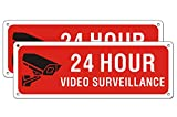 Video Surveillance Metal Sign Under 24 Hour for Business House Camera Security Warning Aluminum Sign CCTV (2 Pack 10 x 3.5 inches)