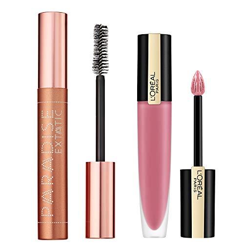 L Oréal Paris Kit MakeUp Effetto Volume Mascara Allungante Volumizzante Paradise, Formula con Oli Nutrienti+Rouge Signature Tinta Labbra, Rossetto Lunga Durata, Effetto Matte, 105 I Rule