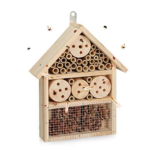 Relaxdays Insektenhotel Bausatz, Insektenhaus für Käfer, Wildbienen & Florfliegen, selber bauen, 33 x 24,5 x 7 cm, natur