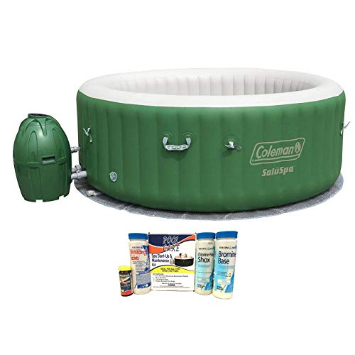 Coleman SaluSpa 6 Person Inflatable Outdoor Hot Tub with Automatic Power Saving System, Soothing AirJet System, and Chemical Maintenance Kit