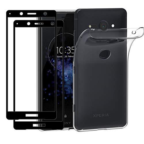 ivoler Coque pour Sony Xperia XZ2 Compact, avec Lot de 2 Verre trempé Protection écran [Couverture Complète], Transparent Étui de Protection en Silicone Antichoc, Mince Souple TPU Bumper Housse