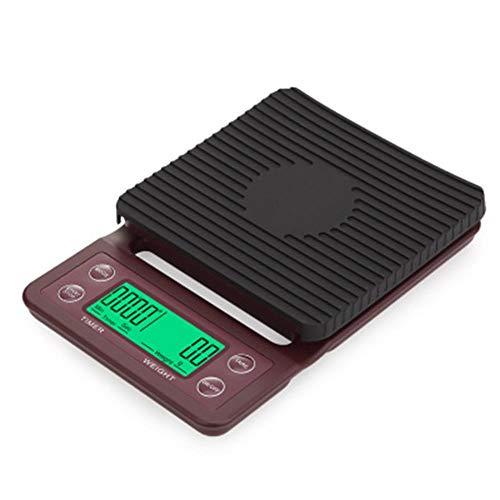 Bilancia da cucina elettronica digitale da 5 kg / 0,1 g, bilancia da barista con timer, bilancia da cucina per cucina, rosso vino, 5 kg-0,1 g