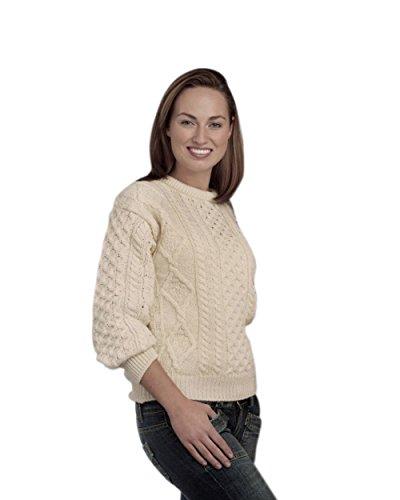 Merino Wool Traditional Irish Aran Crew Neck Sweater (Natural, XX-Large)