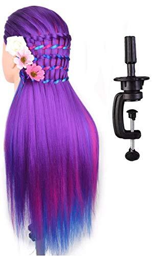 Tête à coiffer de cosmétologie 60 cm, cheveux 100% synthétiques couleur arc-en-ciel, pour apprentissage de coiffeur, tête à coiffer avec serre-joint pour table et mini-brosse démêlante (série violette).