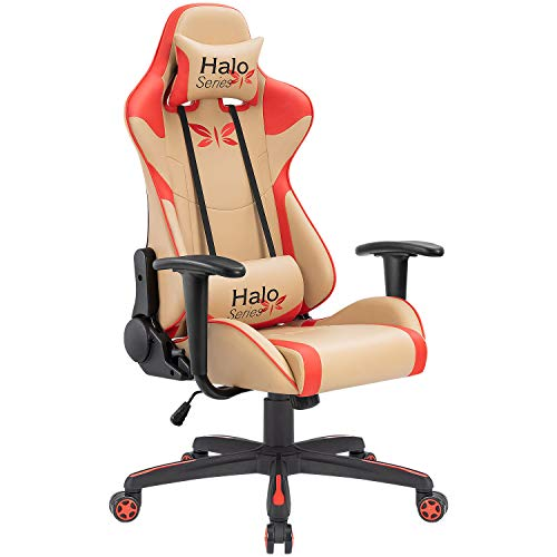 JUMMICO Gaming Chair Adjustable Racing Chair Halo Series Specialty Design Ergonomic Comfortable Swivel Computer Chair with Headrest and Lumbar Support (Light Brown)