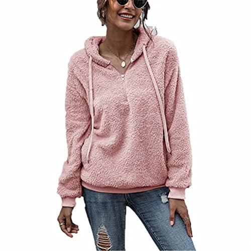 ZFQQ suéter de Felpa con Capucha y Cremallera Suelta de Color sólido para Mujer otoño / Invierno