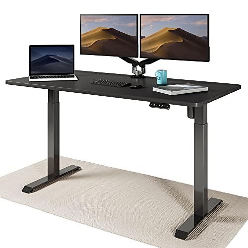 Desktronic Elektrisch Höhenverstellbarer Schreibtisch - Bequem und Schmerzfrei von Zuhause Arbeiten – Schreibtisch Höhenverstellbar (Schwarzes Gestell + 160x80 Schwarze Tischplatte)