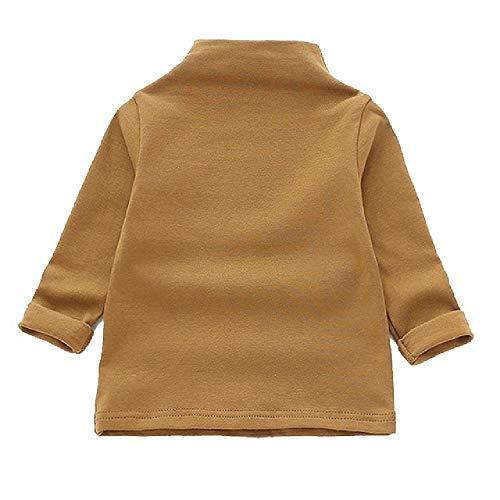 Camisetas para niños Ropa para niños Camisetas para bebés de Manga Larga Camisetas de Cuello Alto Tops sólidos