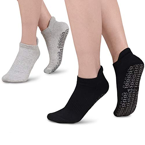 Yoga Socken für Damen Mann,rutschfeste Anti Skid Grip Socken,perfekt für Pilates, Yoga, Barre, Dance, Martial Arts, Trampolin, Fitness, Krankenhaus, Reha, Home & Body Balance (2 Paar,35-42)