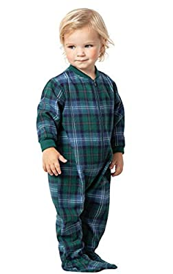 PajamaGram Unisex Baby Pajamas Plaid - Cozy Christmas Onesie Baby, Green, 6M