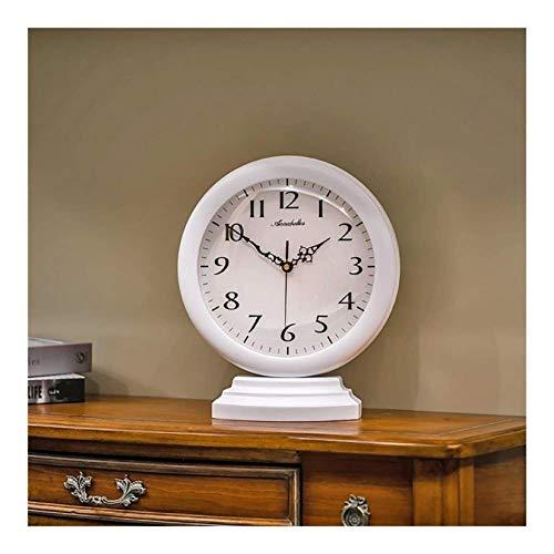 SHJMANPA Reloj De Sobremesa Reloj De Manto De Madera Mesa Relojes De Mesa Retro Antiguos Decorativos Sala Silenciosa Adornos Preciso Durable Elegante Movimiento Silencioso, White