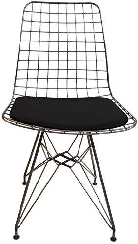 mina concept 28-1 Draht-Stuhl Industriedesign – 45cm Sitz-, 81cm Gesamthöhe mit Lehne – Sitzpolster schwarz
