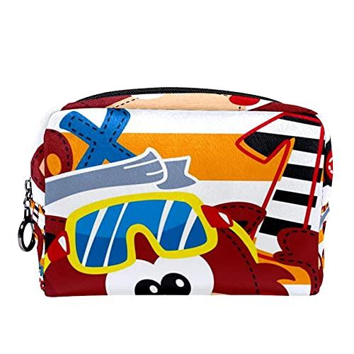 Bolsa Maquillaje Almacenamiento organización Artículos tocador cosméticos Estuche portátil Dibujos Animados Lindo Zorro Nadar Gafas de Buceo para Viajes Aire Libre